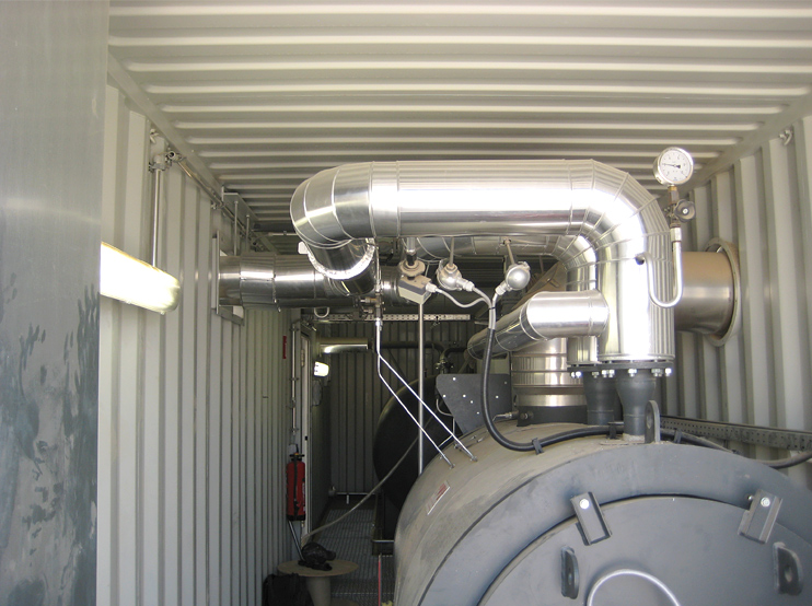 Direct fired thermal oil heater installed in container