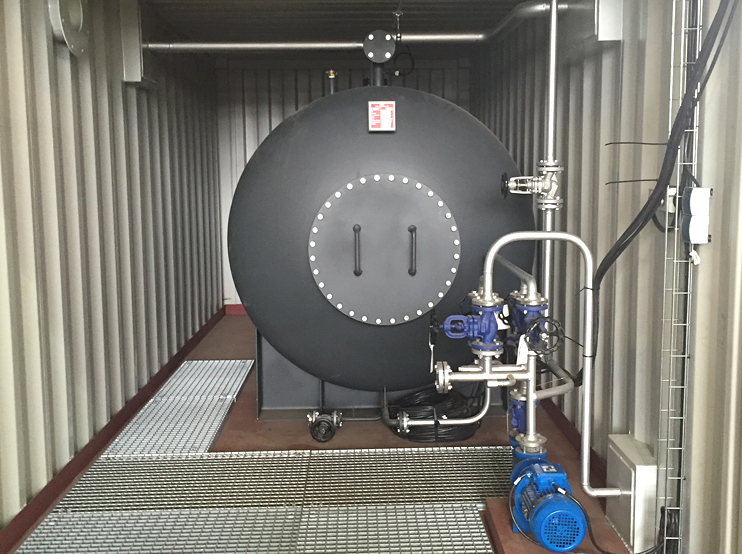 Drain tank installed in container